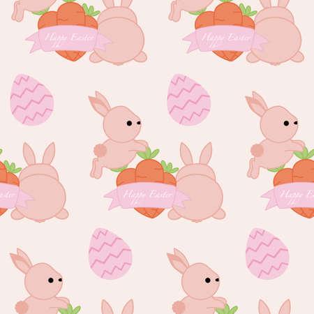 bunnies, carrots and easter eggs, seamless pattern Illusztráció