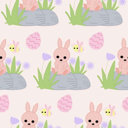 easter bunny on a rock, seamless pattern design Illusztráció
