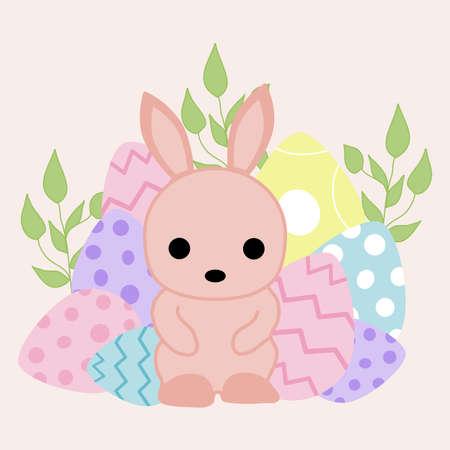 easter bunny with eggs, vector illustration Illusztráció