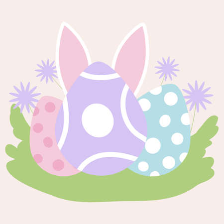 easter eggs and bunny ears, vector illustration
