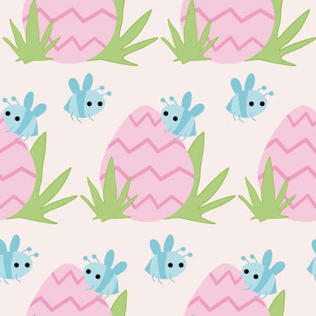 easter pink egg and blue bees, seamless pattern