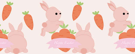 horizontal border with cute little bunnies and carrots