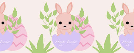 horizontal border with pink bunny and easter eggs