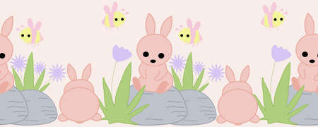 horizontal border with pink bunny on a rock