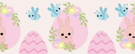 horizontal border with pink easter egg, bunny and bees Illusztráció