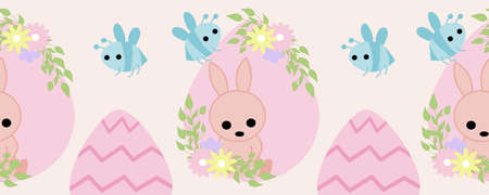 horizontal border with pink easter egg, bunny and bees Illustration