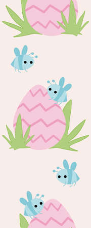 Vertical seamless border with blue bees and pink easter bunny
