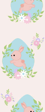 Vertical seamless border with blue egg and flower wreath Illustration