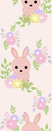 Vertical seamless border with bunny an flower wreath