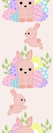 Vertical seamless border with colorful easter eggs and cute baby bunny