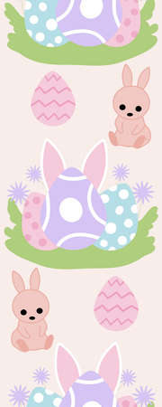 Vertical seamless border with colorful eggs and bunny ears