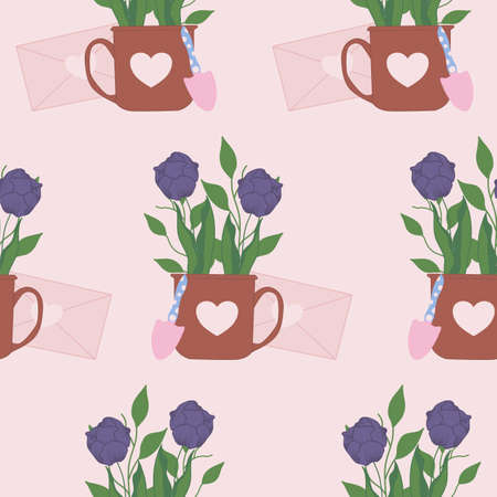 cute tulips bouquet in a cup, seamless pattern