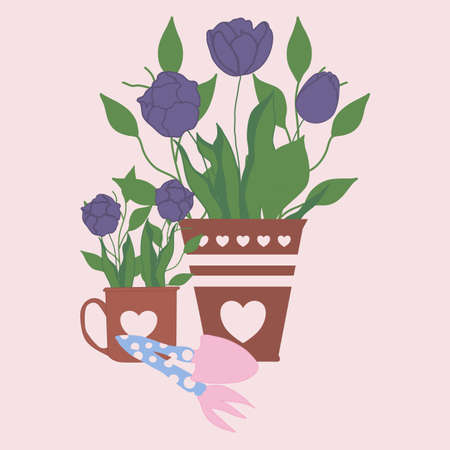 cute tulips in pots and mugs, vector illustration