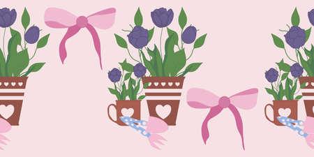 horizontal vector border with cute tulips in pots Illusztráció
