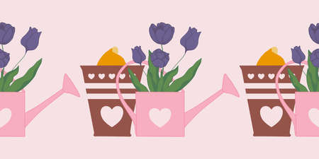 horizontal vector border with tulips in water cans