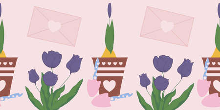 horizontal vector border with tulips, tulip buds and gardening tools