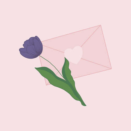 purple tulip and pink envelope, vector illustration