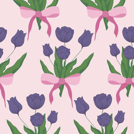 purple tulip bouquet in a seamless pattern design