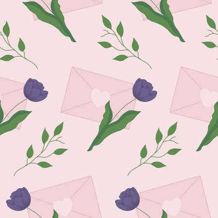 purple tulips and pink vute envelope, seamless pattern
