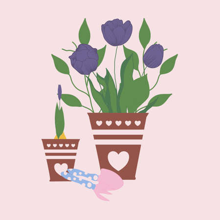 purple tulips im pots, vector illustration Illusztráció