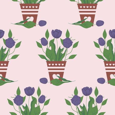 purple tulips in brown pot, seamless pattern design