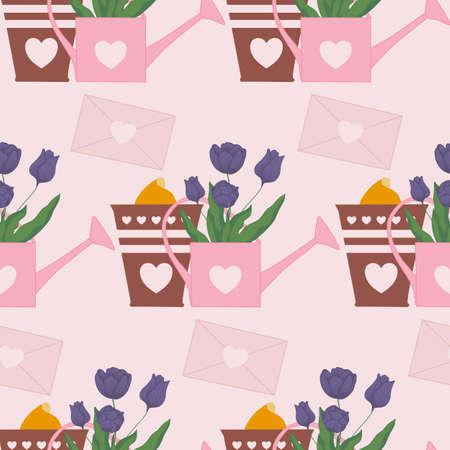 tulip bud in a pot, seamless pattern design