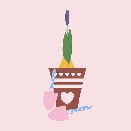 tulip bud in a pot, vector illustration