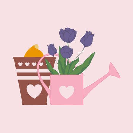 tulips and buds in a spring vector illustration Illusztráció