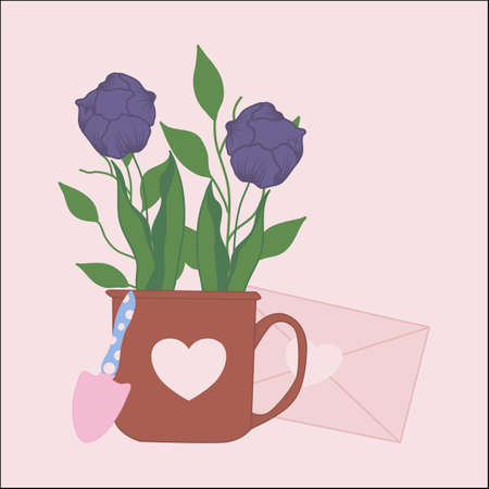 tulips and gardening tools, vector illustration Illusztráció
