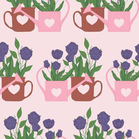tulips and gardening tools,seamless pattern design Illusztráció