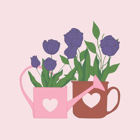 tulips in a mug, vector illustration