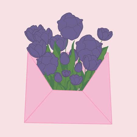 tulips in an envelope, vector illustration Illusztráció