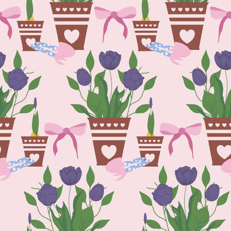 tulips in cute pots, seamless pattern design