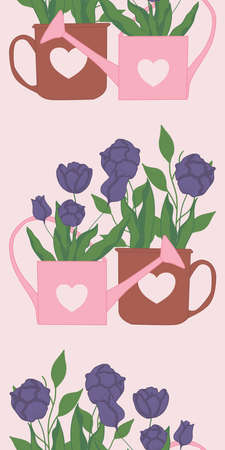 vertical vector border with cute tulips im pink and brown pots