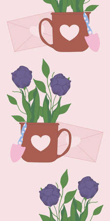 vertical vector border with cute tulips in mugs