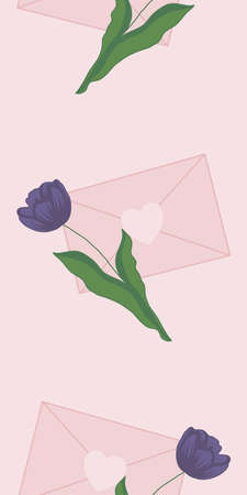 vertical vector border with tulip and pink envelope