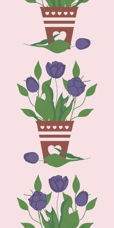 vertical vector border with tulip bouquet in pots