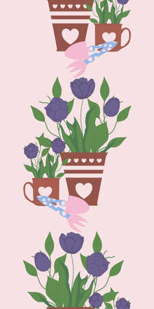 vertical vector border with tulips in pots and mugs