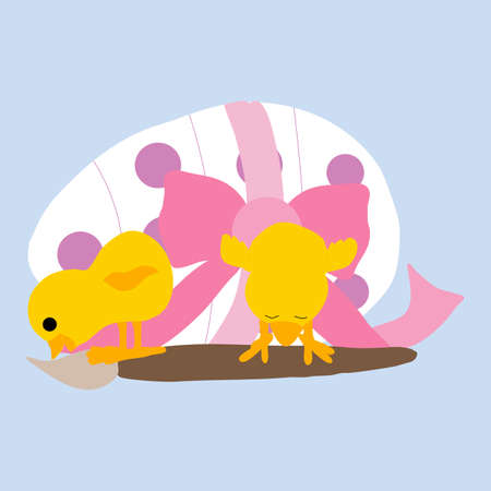 cute chicken, paint brush and pink easter egg, vector illustraion
