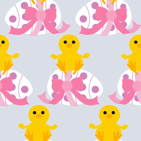 cute easter chicken and easter egg in a seamless pattern design