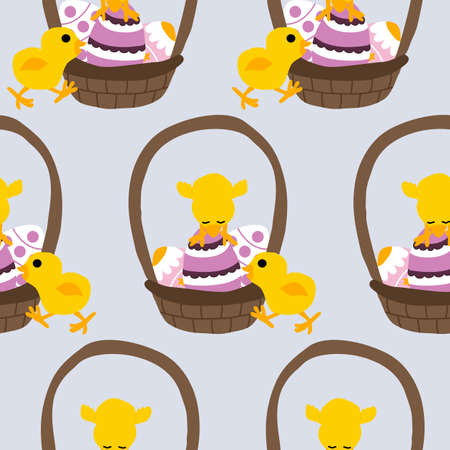 easter basket with easter eggs and cute chicken, seamless pattern Ilustrace