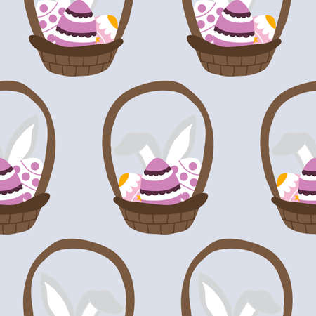 easter basket with eggs, seamless pattern Ilustrace