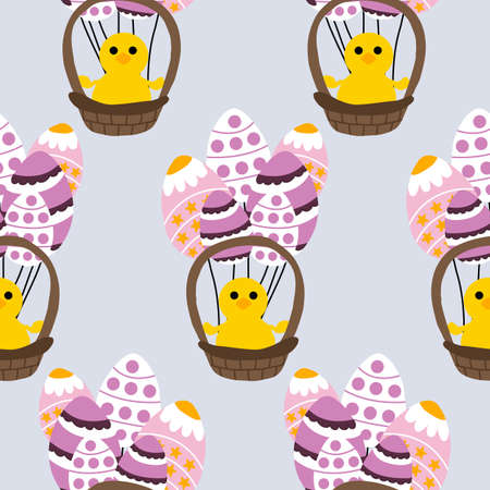 easter egg balloons and easter basket, seamless pattern