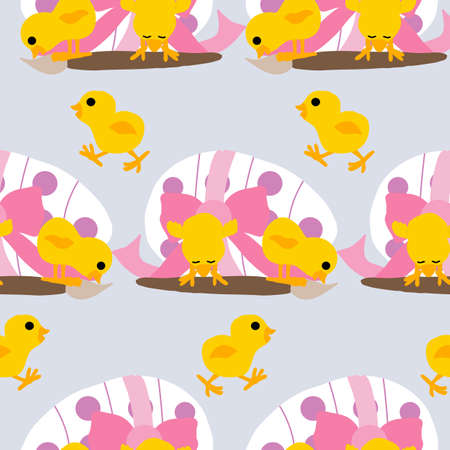 easter egg, chicken and painting brush, seamless pattern design Ilustrace
