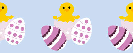 horizontal border with cute chicken and colorful easter eggs