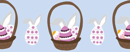 horizontal border with easter basket and bunny ears