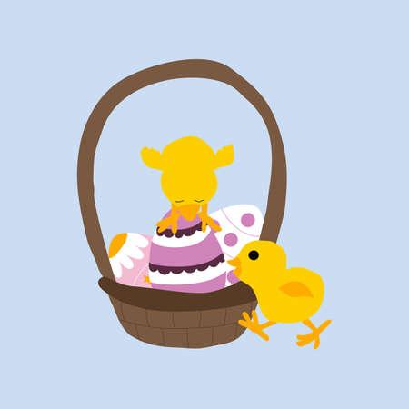 vector illustration with easter basket and chicken Illusztráció