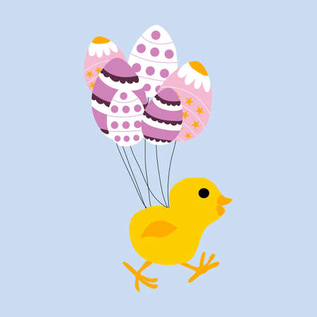 vector illustration with cute chicken and baloons eggs