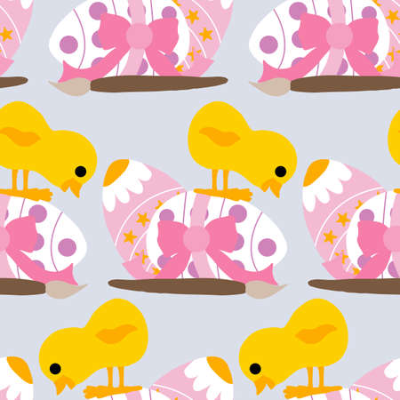 pink decorated easter egg and chicke, seamless pattern