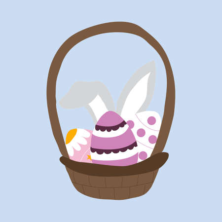 vector illustration with easter eggs and bunny ears